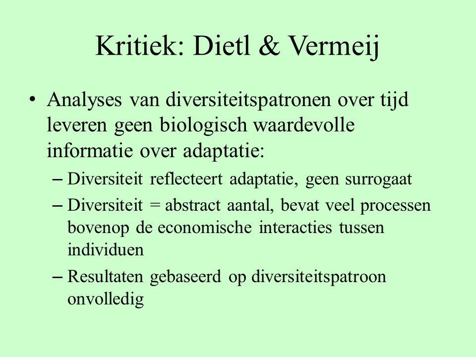 Kritiek: Dietl & Vermeij Analyses van diversiteitspatronen over tijd leveren geen biologisch waardevolle informatie over adaptatie: – Diversiteit refl