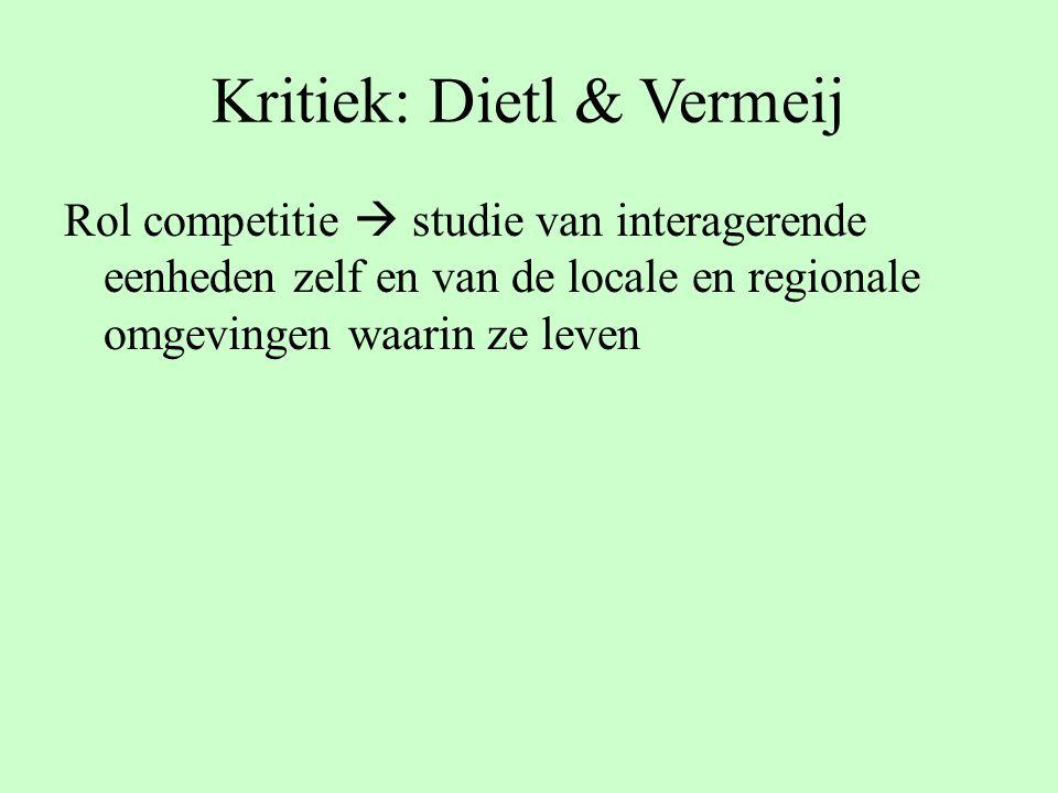 Kritiek: Dietl & Vermeij Rol competitie  studie van interagerende eenheden zelf en van de locale en regionale omgevingen waarin ze leven