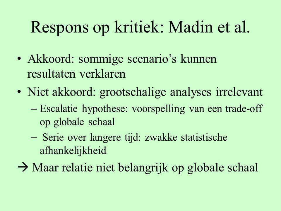 Respons op kritiek: Madin et al. Akkoord: sommige scenario's kunnen resultaten verklaren Niet akkoord: grootschalige analyses irrelevant – Escalatie h
