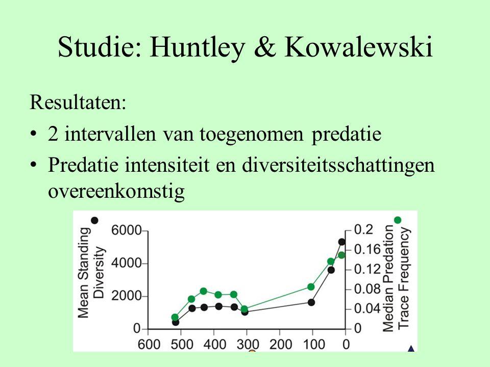 Studie: Huntley & Kowalewski Resultaten: 2 intervallen van toegenomen predatie Predatie intensiteit en diversiteitsschattingen overeenkomstig