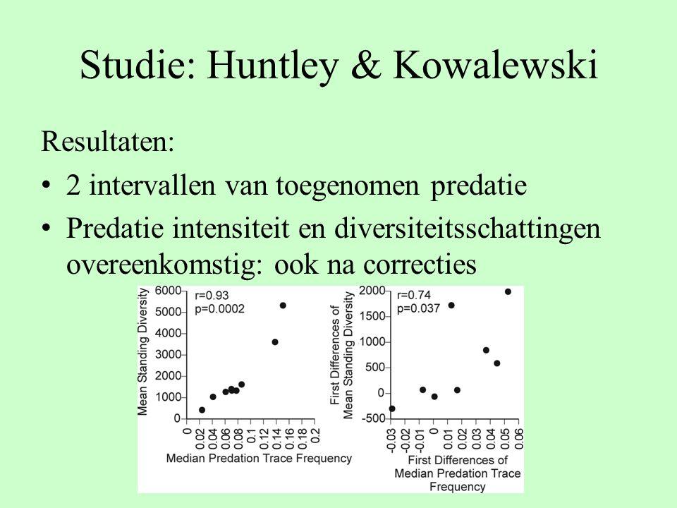 Studie: Huntley & Kowalewski Resultaten: 2 intervallen van toegenomen predatie Predatie intensiteit en diversiteitsschattingen overeenkomstig: ook na