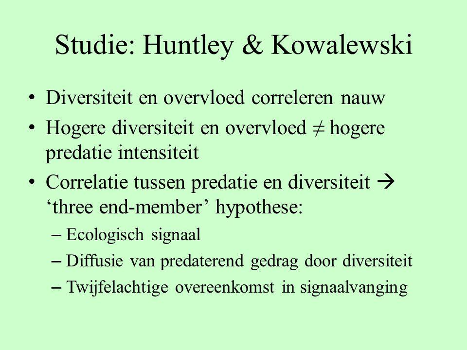 Studie: Huntley & Kowalewski Diversiteit en overvloed correleren nauw Hogere diversiteit en overvloed ≠ hogere predatie intensiteit Correlatie tussen