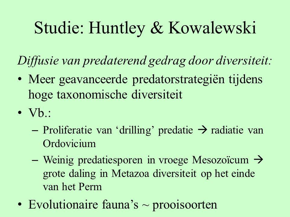 Studie: Huntley & Kowalewski Diffusie van predaterend gedrag door diversiteit: Meer geavanceerde predatorstrategiën tijdens hoge taxonomische diversit