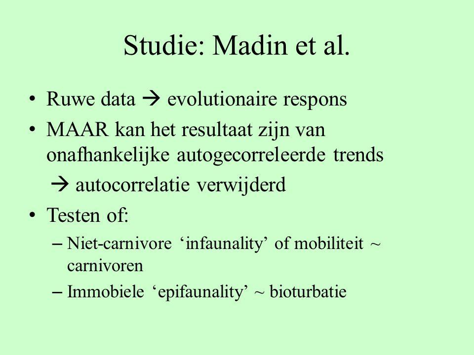 Ruwe data  evolutionaire respons MAAR kan het resultaat zijn van onafhankelijke autogecorreleerde trends  autocorrelatie verwijderd Testen of: – Nie