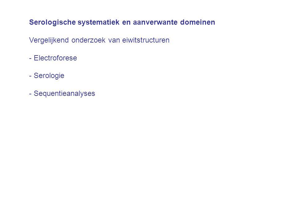 Serologische systematiek en aanverwante domeinen Vergelijkend onderzoek van eiwitstructuren - Electroforese - Serologie - Sequentieanalyses