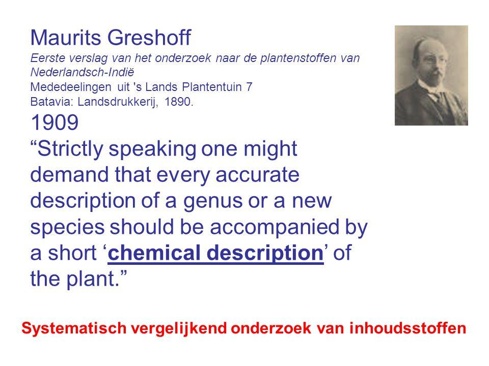 Maurits Greshoff Eerste verslag van het onderzoek naar de plantenstoffen van Nederlandsch-Indië Mededeelingen uit s Lands Plantentuin 7 Batavia: Landsdrukkerij, 1890.