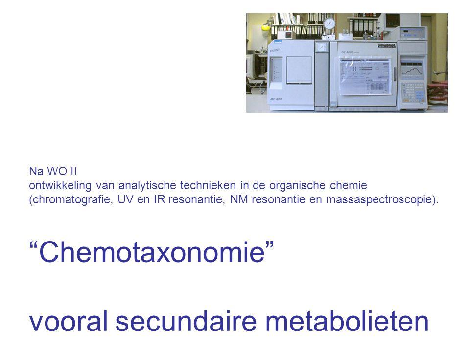 Na WO II ontwikkeling van analytische technieken in de organische chemie (chromatografie, UV en IR resonantie, NM resonantie en massaspectroscopie).