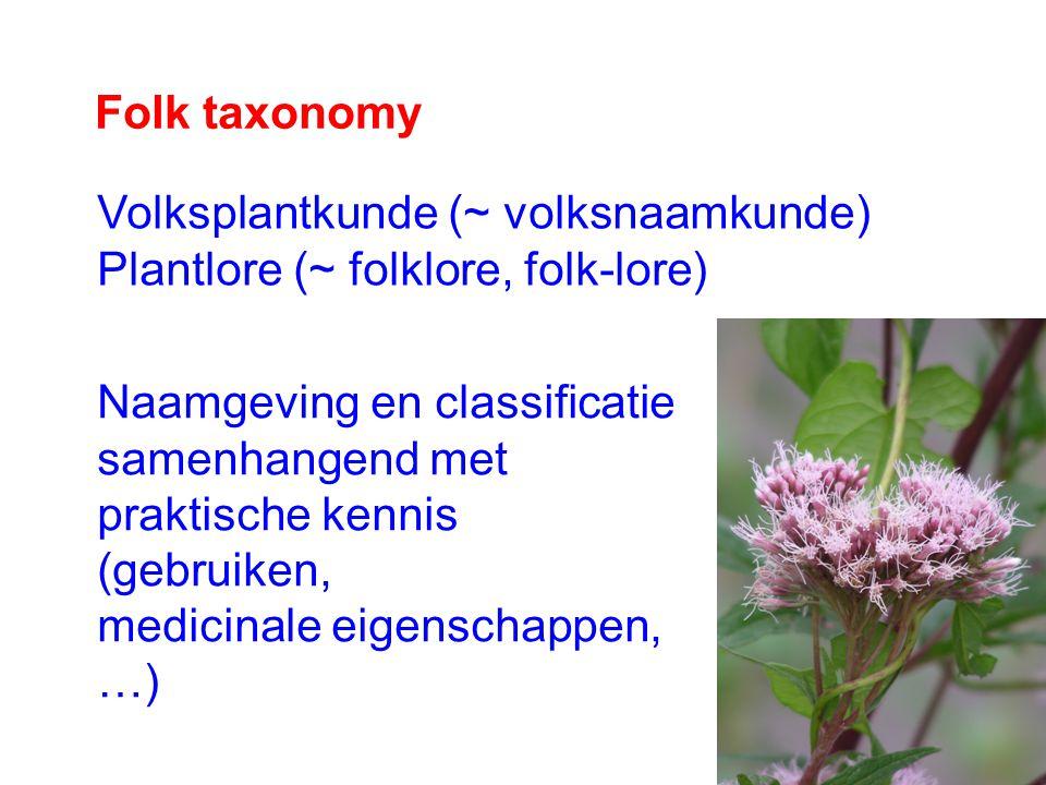 Folk taxonomy Volksplantkunde (~ volksnaamkunde) Plantlore (~ folklore, folk-lore) Naamgeving en classificatie samenhangend met praktische kennis (gebruiken, medicinale eigenschappen, …)