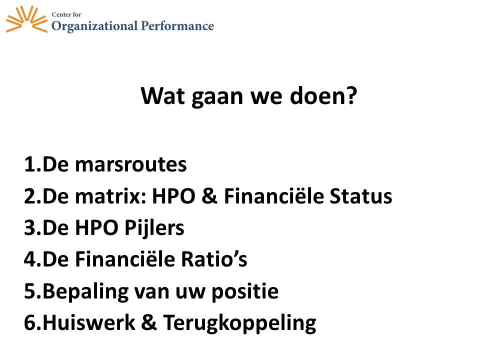 Wat gaan we doen? 1.De marsroutes 2.De matrix: HPO & Financiële Status 3.De HPO Pijlers 4.De Financiële Ratio's 5.Bepaling van uw positie 6.Huiswerk &