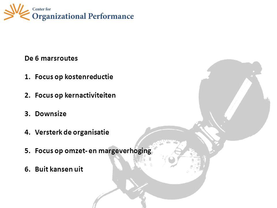 De 6 marsroutes 1.Focus op kostenreductie 2.Focus op kernactiviteiten 3.Downsize 4.Versterk de organisatie 5.Focus op omzet- en margeverhoging 6.Buit