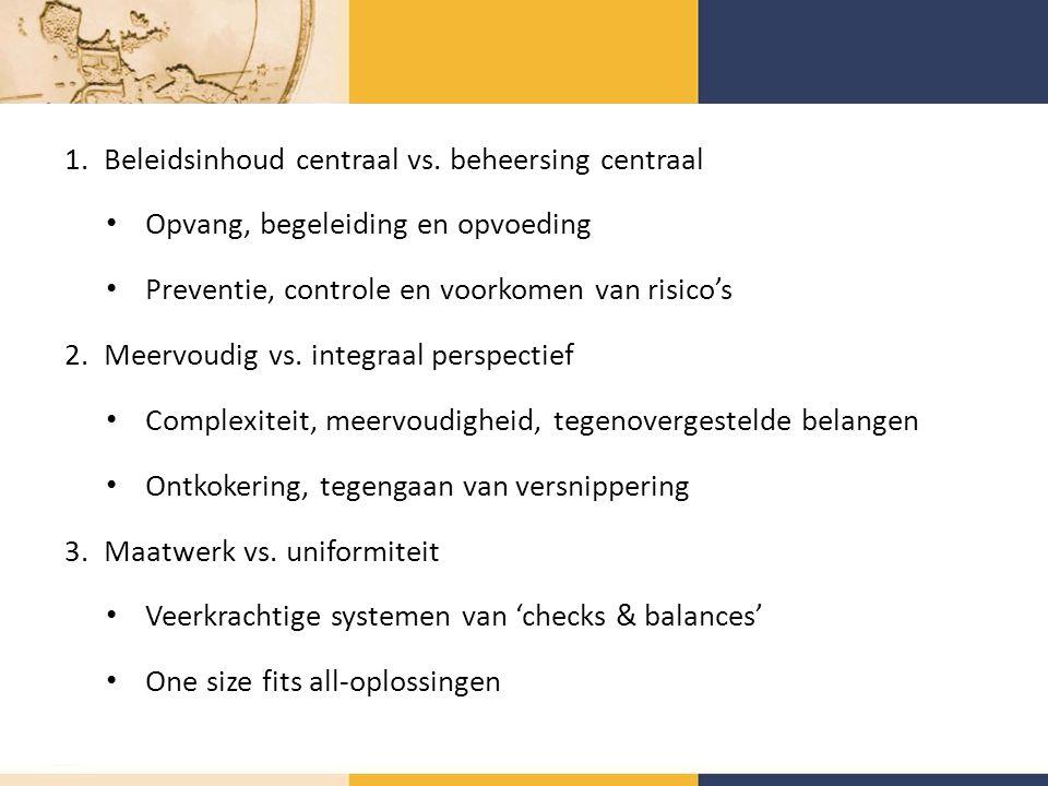 1.Beleidsinhoud centraal vs.