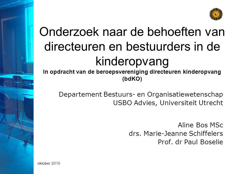 oktober 2010 Onderzoek naar de behoeften van directeuren en bestuurders in de kinderopvang In opdracht van de beroepsvereniging directeuren kinderopvang (bdKO) Departement Bestuurs- en Organisatiewetenschap USBO Advies, Universiteit Utrecht Aline Bos MSc drs.