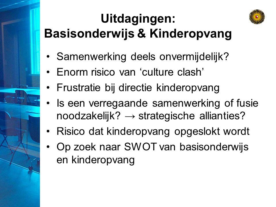 Uitdagingen: Basisonderwijs & Kinderopvang Samenwerking deels onvermijdelijk.