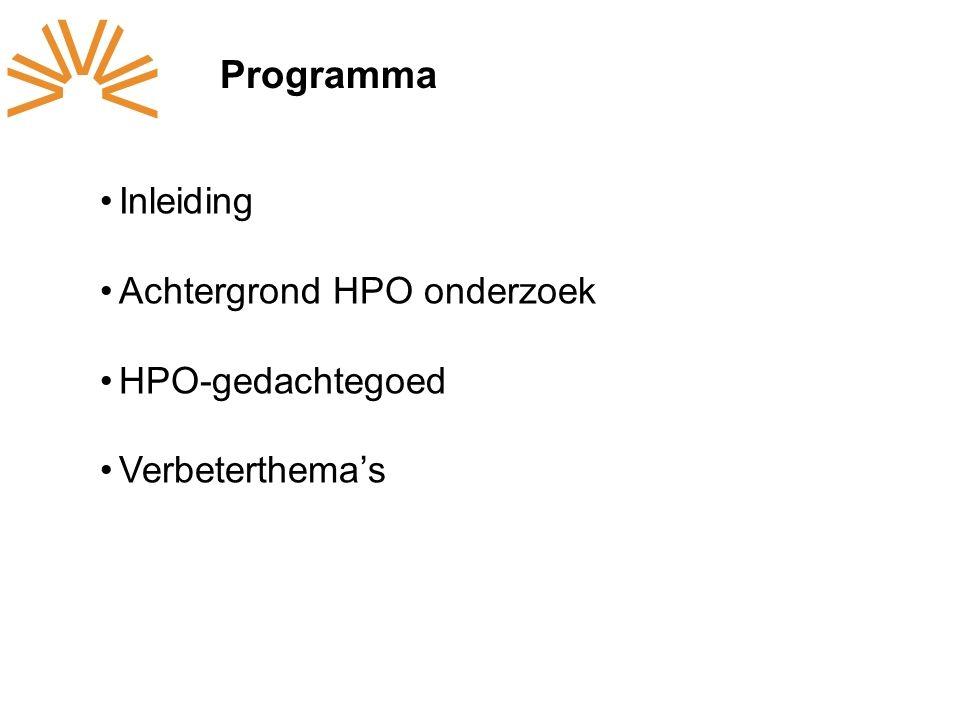 Programma Inleiding Achtergrond HPO onderzoek HPO-gedachtegoed Verbeterthema's