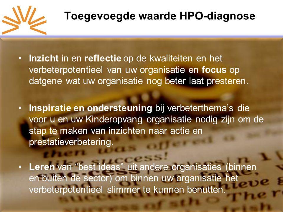 Toegevoegde waarde HPO-diagnose Inzicht in en reflectie op de kwaliteiten en het verbeterpotentieel van uw organisatie en focus op datgene wat uw organisatie nog beter laat presteren.
