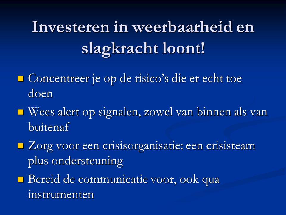Investeren in weerbaarheid en slagkracht loont! Concentreer je op de risico's die er echt toe doen Concentreer je op de risico's die er echt toe doen