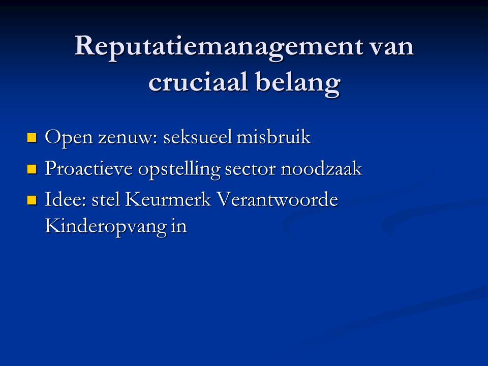Reputatiemanagement van cruciaal belang Open zenuw: seksueel misbruik Open zenuw: seksueel misbruik Proactieve opstelling sector noodzaak Proactieve o