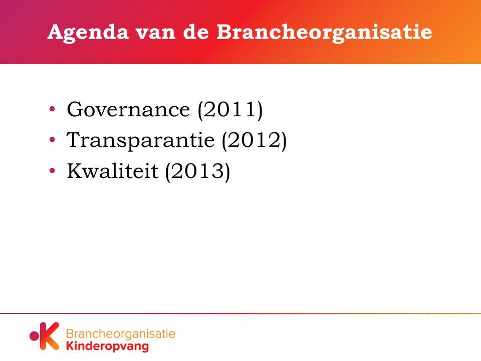 Agenda van de Brancheorganisatie Governance (2011) Transparantie (2012) Kwaliteit (2013)