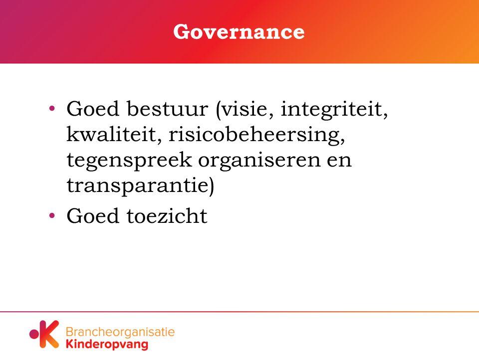 Governance Goed bestuur (visie, integriteit, kwaliteit, risicobeheersing, tegenspreek organiseren en transparantie) Goed toezicht
