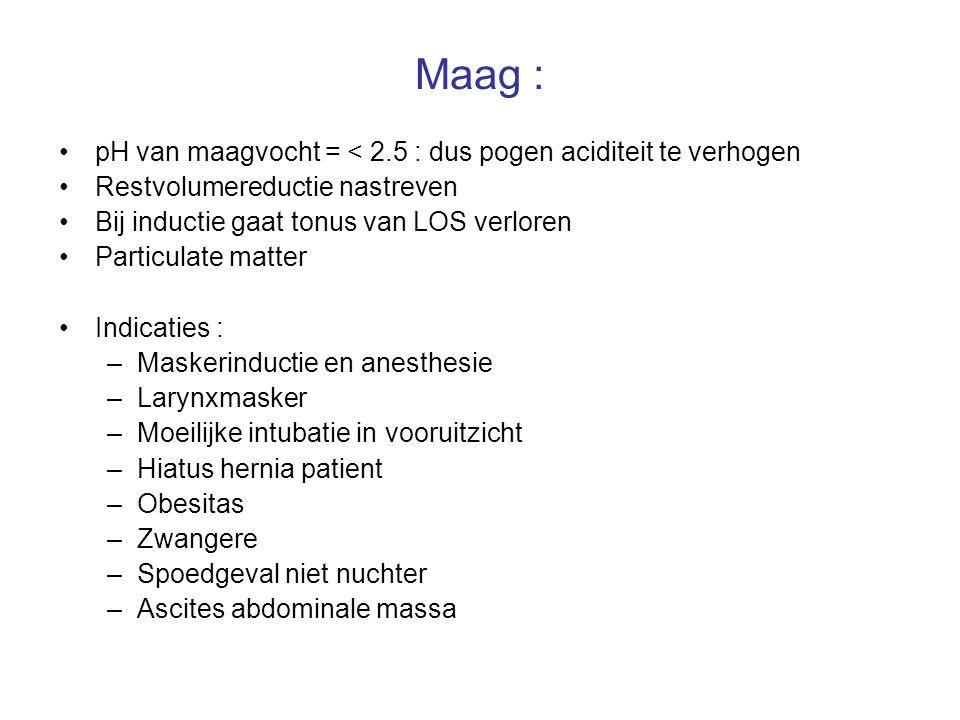 Maag : pH van maagvocht = < 2.5 : dus pogen aciditeit te verhogen Restvolumereductie nastreven Bij inductie gaat tonus van LOS verloren Particulate ma