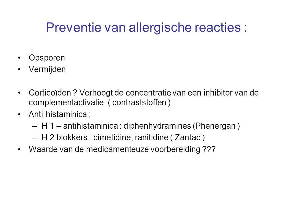 Preventie van allergische reacties : Opsporen Vermijden Corticoïden ? Verhoogt de concentratie van een inhibitor van de complementactivatie ( contrast