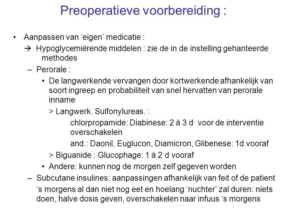 Preoperatieve voorbereiding : –Cardiale medicatie : Groter gevaar tot peroperat.