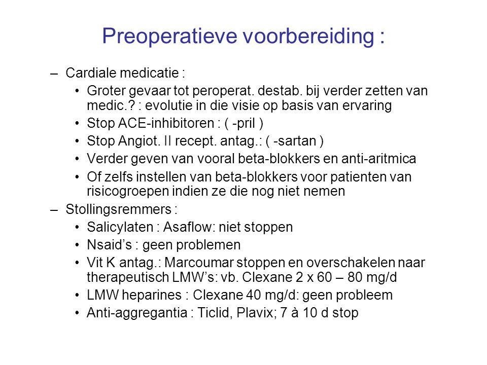 Preoperatieve voorbereiding : Psychofarmaca : –MAO-inhibitoren : Aurorix, Nardelzine >> hemodynamische instabiliteit >> hyperpyrexie, hypertensie en epilepsie door interactie met het opiaat Meperidine = Pethidine = Dolantine ( niet de andere opiaten ) –Tricyclische antidepressiva : ( Prozac ) : niet stoppen Corticoïden : geen aanpassingen nodig preoperatief Verder geen medicatieaanpassingen nodig