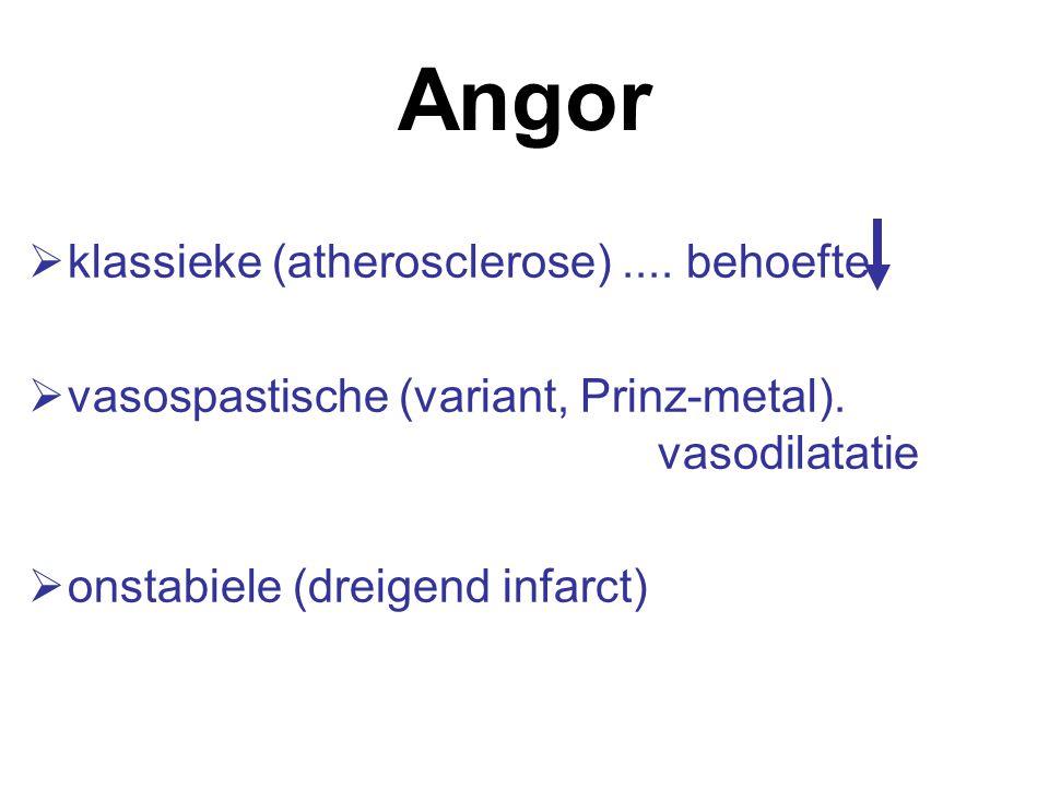 Angor  klassieke (atherosclerose)....behoefte  vasospastische (variant, Prinz-metal).