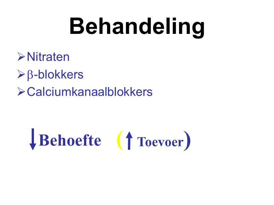 Behandeling  Nitraten   -blokkers  Calciumkanaalblokkers Behoefte Toevoer ( )