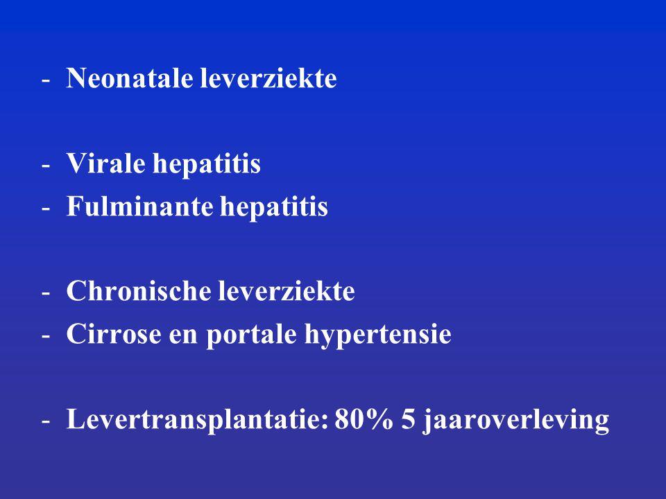 -Neonatale leverziekte -Virale hepatitis -Fulminante hepatitis -Chronische leverziekte -Cirrose en portale hypertensie -Levertransplantatie: 80% 5 jaaroverleving