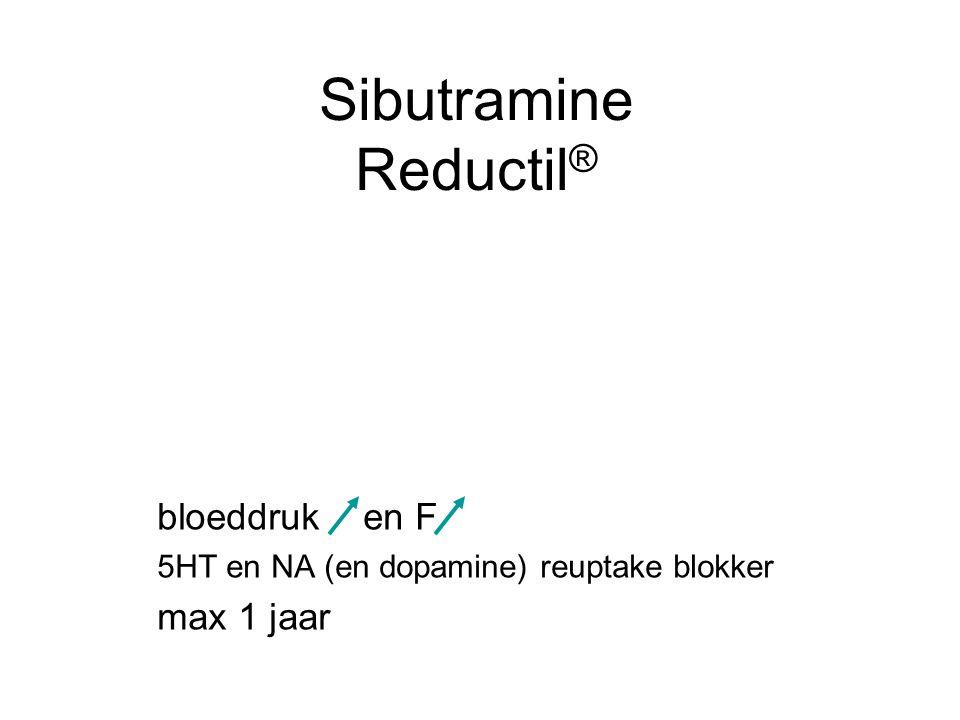 Sibutramine Reductil ® bloeddruk en F 5HT en NA (en dopamine) reuptake blokker max 1 jaar