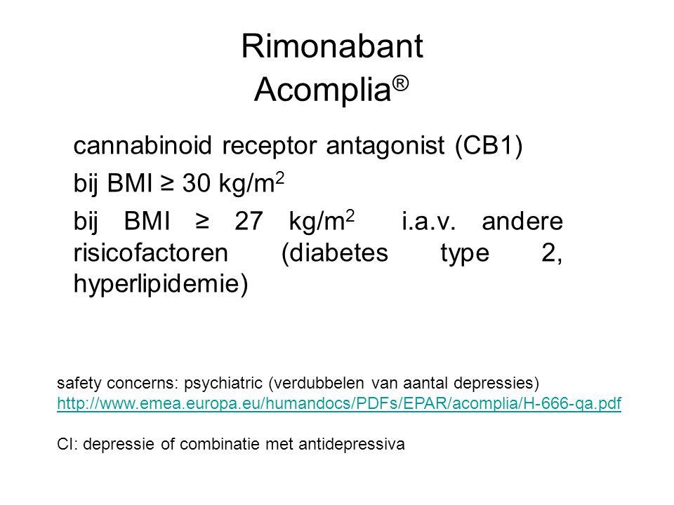 Rimonabant Acomplia ® cannabinoid receptor antagonist (CB1) bij BMI ≥ 30 kg/m 2 bij BMI ≥ 27 kg/m 2 i.a.v. andere risicofactoren (diabetes type 2, hyp