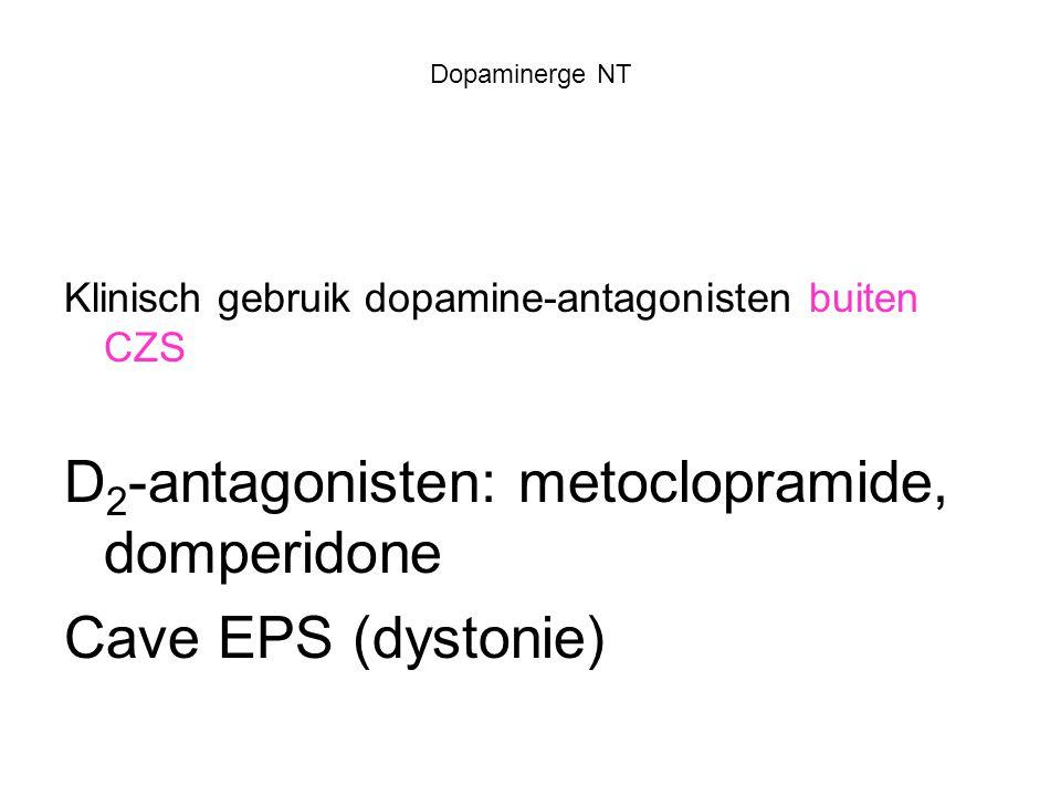Dopaminerge NT Klinisch gebruik dopamine-antagonisten buiten CZS D 2 -antagonisten: metoclopramide, domperidone Cave EPS (dystonie)