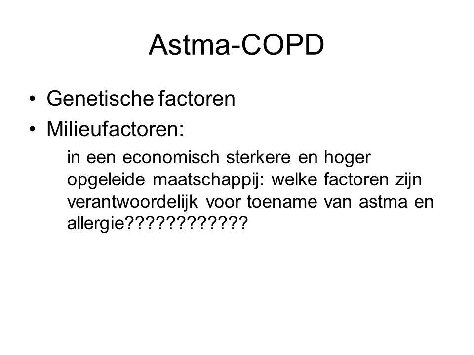 Astma-COPD Genetische factoren Milieufactoren: in een economisch sterkere en hoger opgeleide maatschappij: welke factoren zijn verantwoordelijk voor t