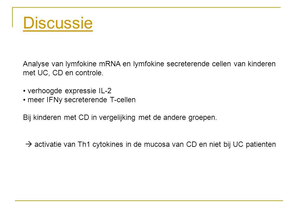 Discussie Analyse van lymfokine mRNA en lymfokine secreterende cellen van kinderen met UC, CD en controle. verhoogde expressie IL-2 meer IFNy secreter