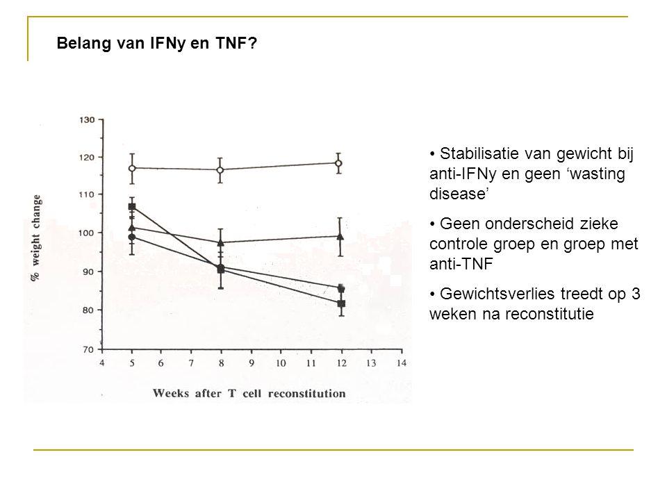 Belang van IFNy en TNF? Stabilisatie van gewicht bij anti-IFNy en geen 'wasting disease' Geen onderscheid zieke controle groep en groep met anti-TNF G