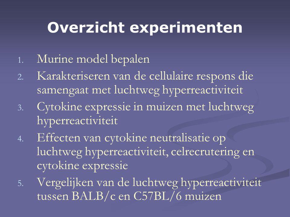 Overzicht experimenten 1. 1. Murine model bepalen 2.