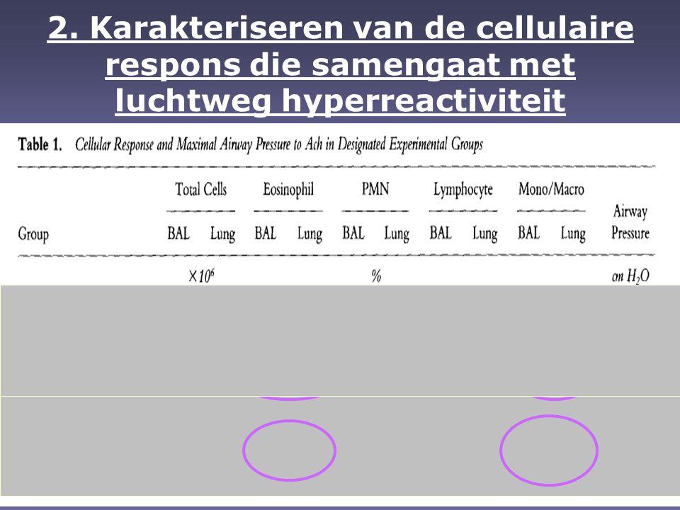 EO bijdrage EO producten zouden bijdragen tot luchtweg hyperreactiviteit door de schade aan luchtweg epitheel waardoor de onderliggende gladde spieren meer gevoelig zijn aan niet-specifieke contractiele mediatoren EO producten zouden bijdragen tot luchtweg hyperreactiviteit door de schade aan luchtweg epitheel waardoor de onderliggende gladde spieren meer gevoelig zijn aan niet-specifieke contractiele mediatoren Of ze zouden kunnen bijdragen tot luchtweg hermodellering en het versmallen van de luchtwegen, zoals geobserveerd in patiënten met chronische ziekte Of ze zouden kunnen bijdragen tot luchtweg hermodellering en het versmallen van de luchtwegen, zoals geobserveerd in patiënten met chronische ziekte  MAAR de mogelijke rol van IL-5 en EO werd in deze studie NIET bevestigd!
