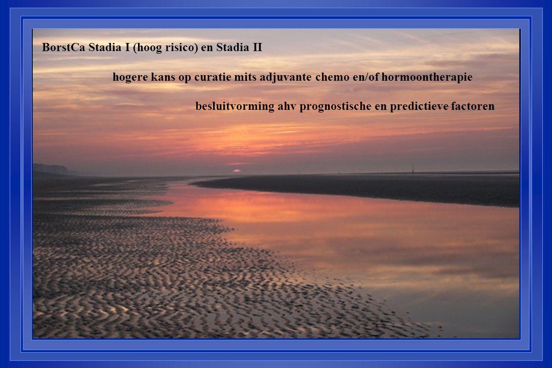 BorstCa Stadia I (hoog risico) en Stadia II hogere kans op curatie mits adjuvante chemo en/of hormoontherapie besluitvorming ahv prognostische en predictieve factoren