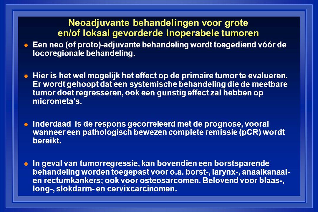Neoadjuvante behandelingen voor grote en/of lokaal gevorderde inoperabele tumoren l Een neo (of proto)-adjuvante behandeling wordt toegediend vóór de