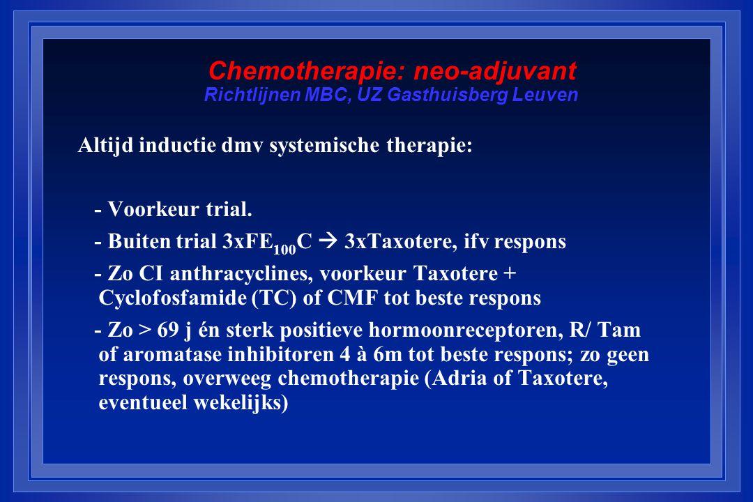 Chemotherapie: neo-adjuvant Richtlijnen MBC, UZ Gasthuisberg Leuven Altijd inductie dmv systemische therapie: - Voorkeur trial.