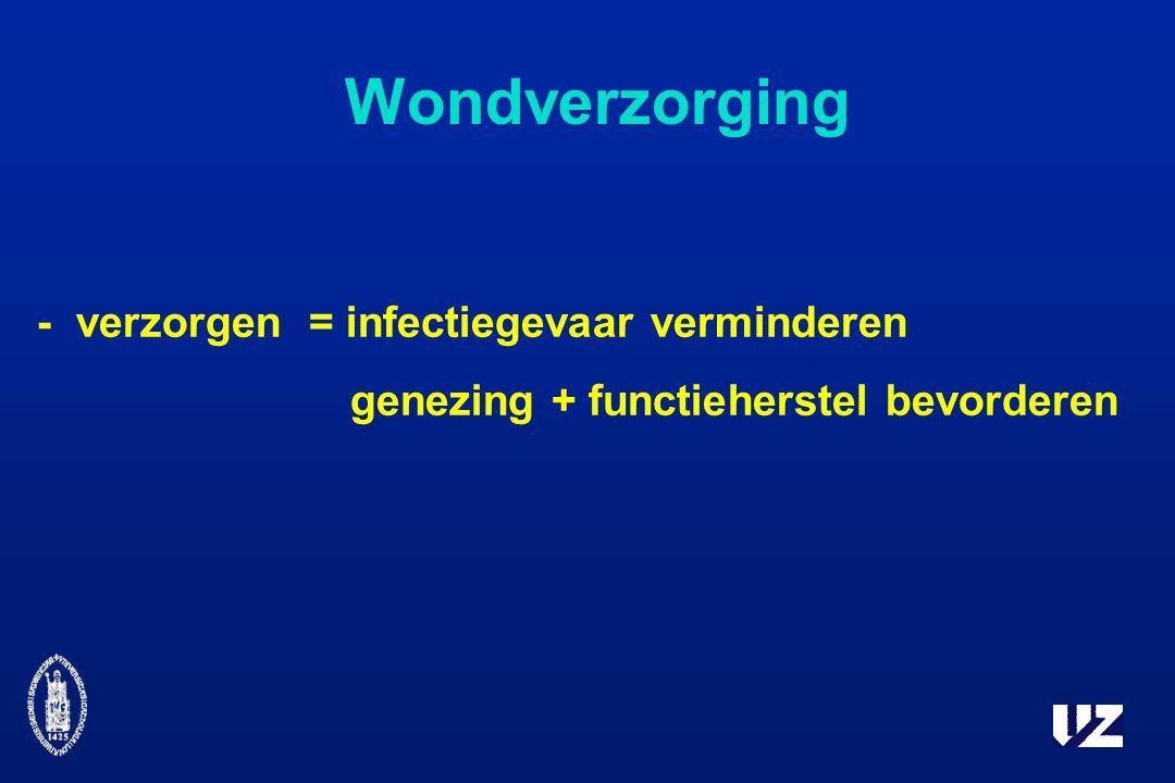 Wondverzorging -verzorgen= infectiegevaar verminderen genezing + functieherstel bevorderen