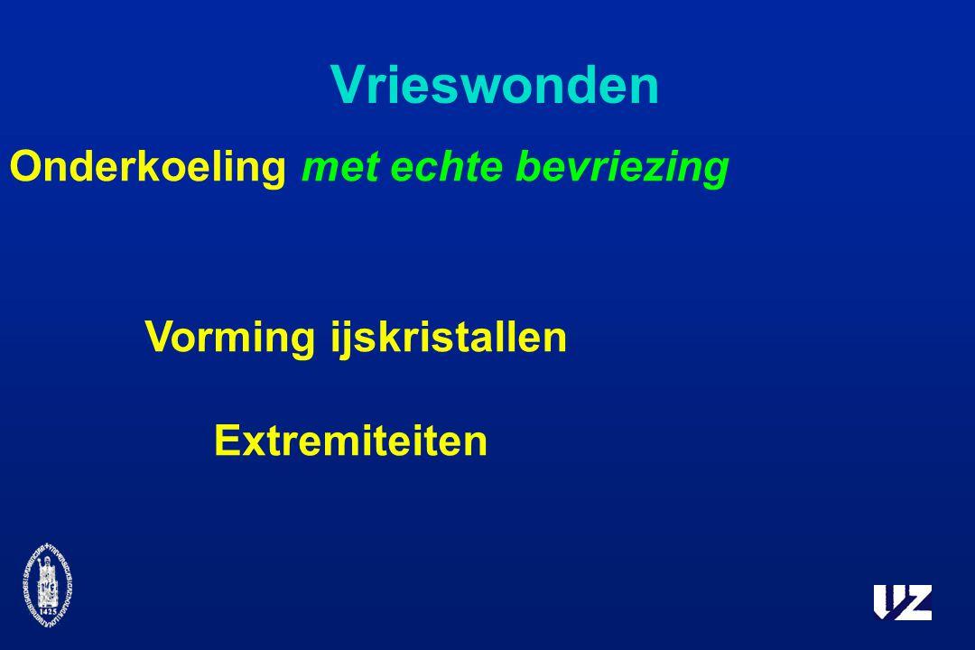 Vrieswonden Onderkoeling met echte bevriezing Vorming ijskristallen Extremiteiten