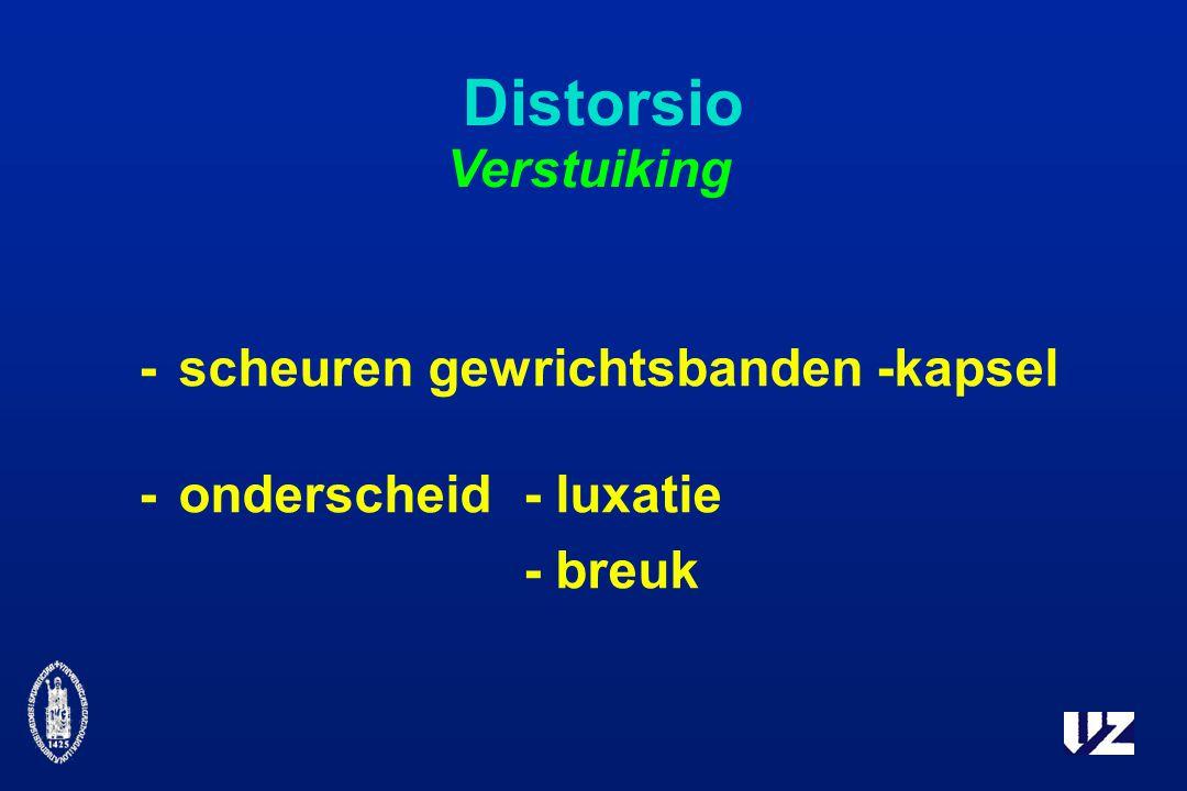 Distorsio -scheuren gewrichtsbanden -kapsel -onderscheid- luxatie - breuk Verstuiking