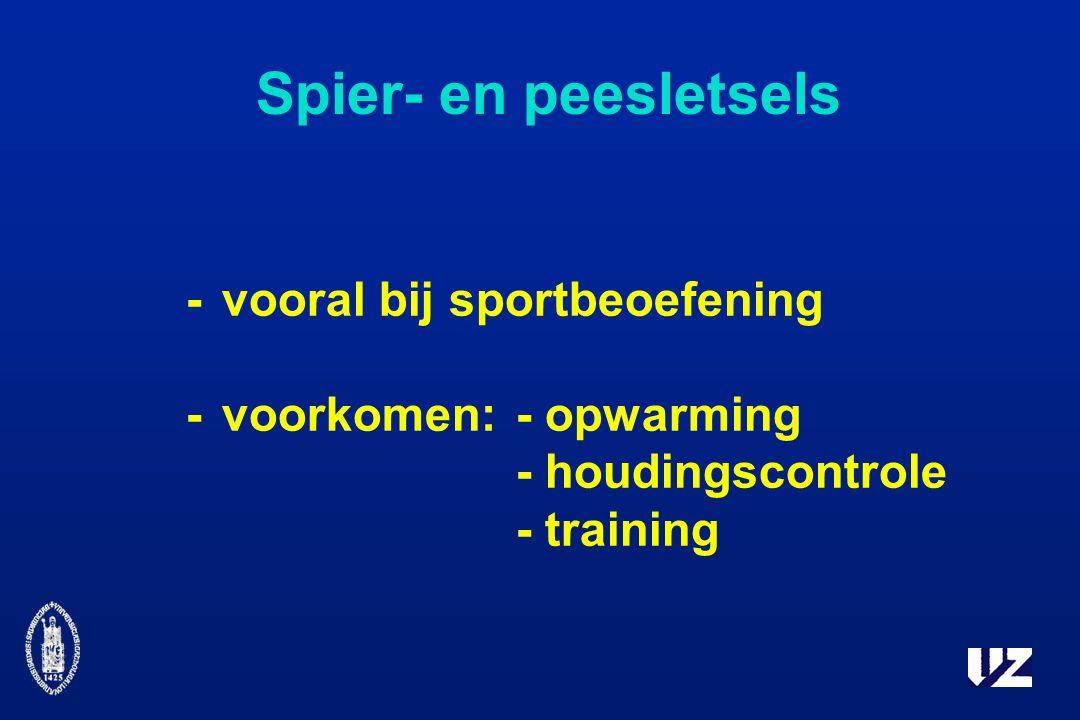 Spier- en peesletsels -vooral bij sportbeoefening -voorkomen:- opwarming - houdingscontrole - training