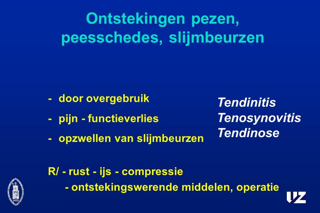 Ontstekingen pezen, peesschedes, slijmbeurzen -door overgebruik -pijn - functieverlies -opzwellen van slijmbeurzen R/ - rust - ijs - compressie - ontstekingswerende middelen, operatie Tendinitis Tenosynovitis Tendinose