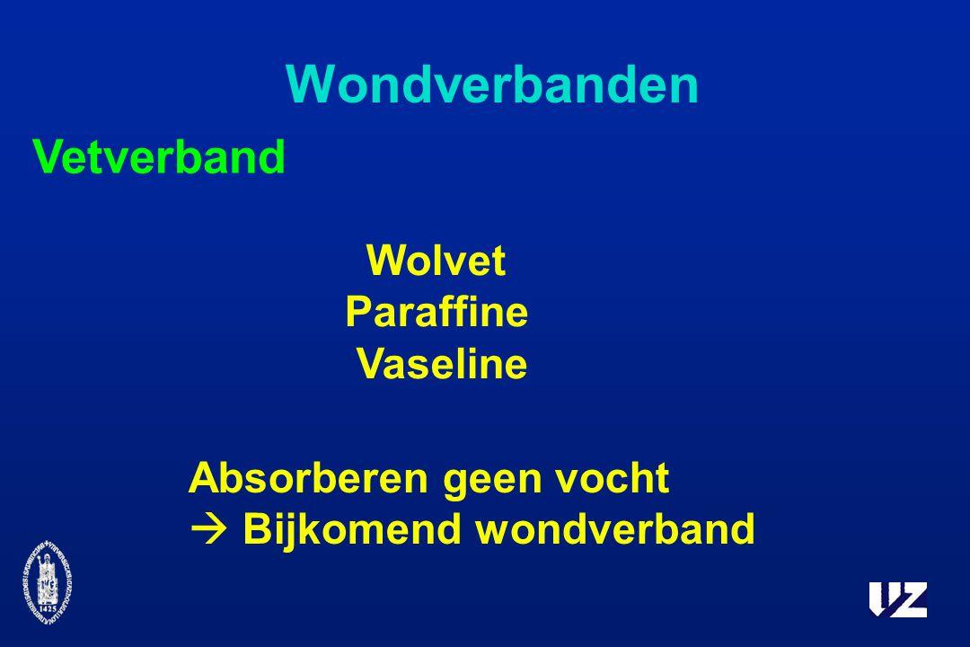 Wondverbanden Vetverband Absorberen geen vocht  Bijkomend wondverband Wolvet Paraffine Vaseline