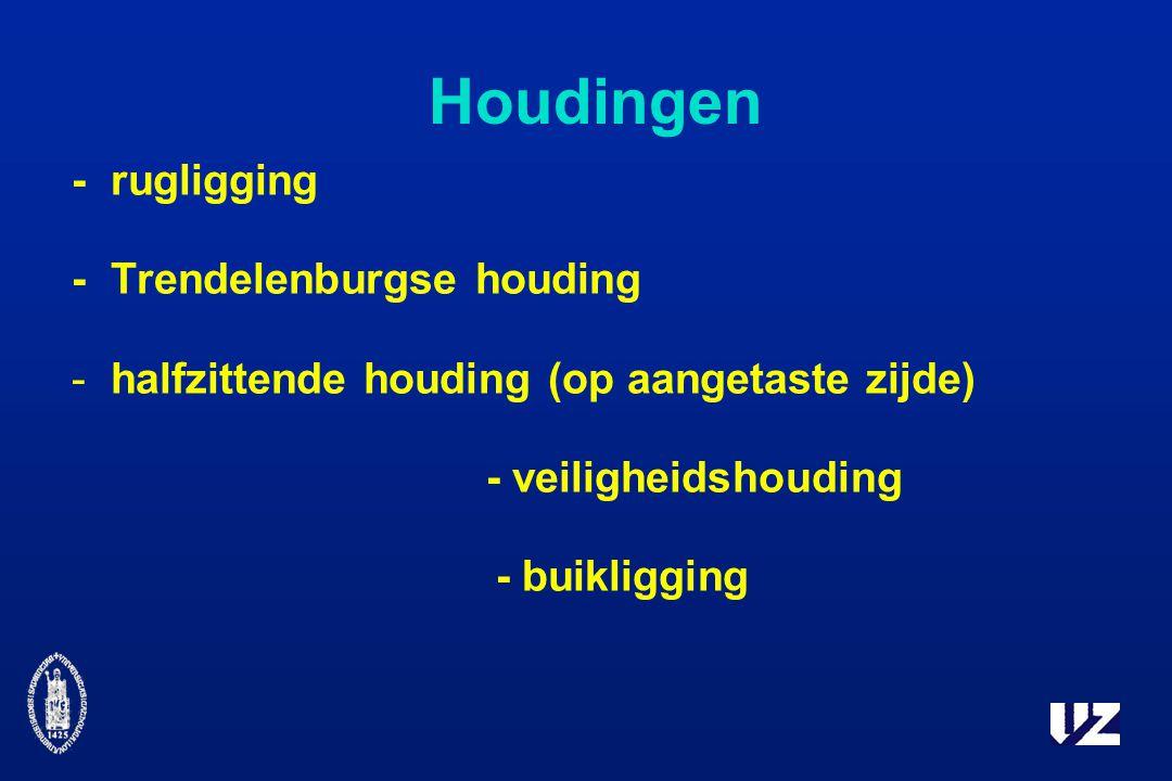 Houdingen -rugligging -Trendelenburgse houding -halfzittende houding (op aangetaste zijde) - veiligheidshouding - buikligging