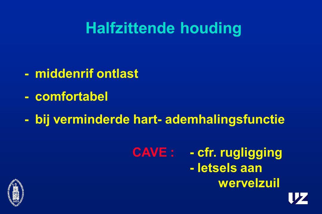 Halfzittende houding -middenrif ontlast -comfortabel -bij verminderde hart- ademhalingsfunctie CAVE : - cfr.