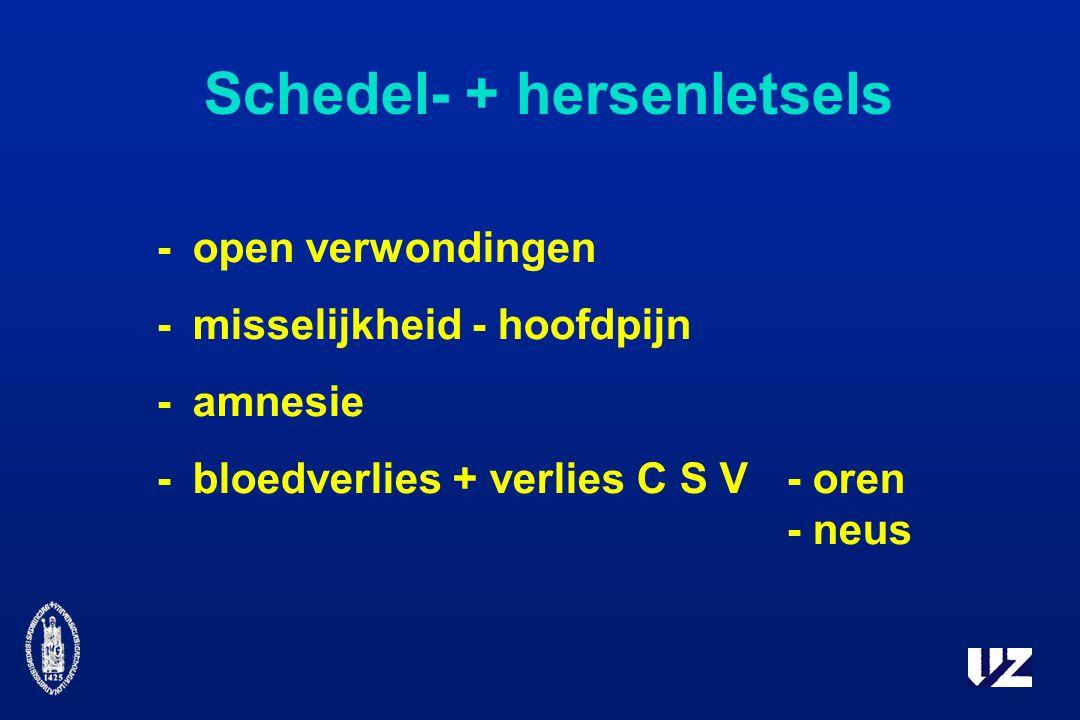 Schedel- + hersenletsels -open verwondingen -misselijkheid - hoofdpijn -amnesie -bloedverlies + verlies C S V - oren - neus